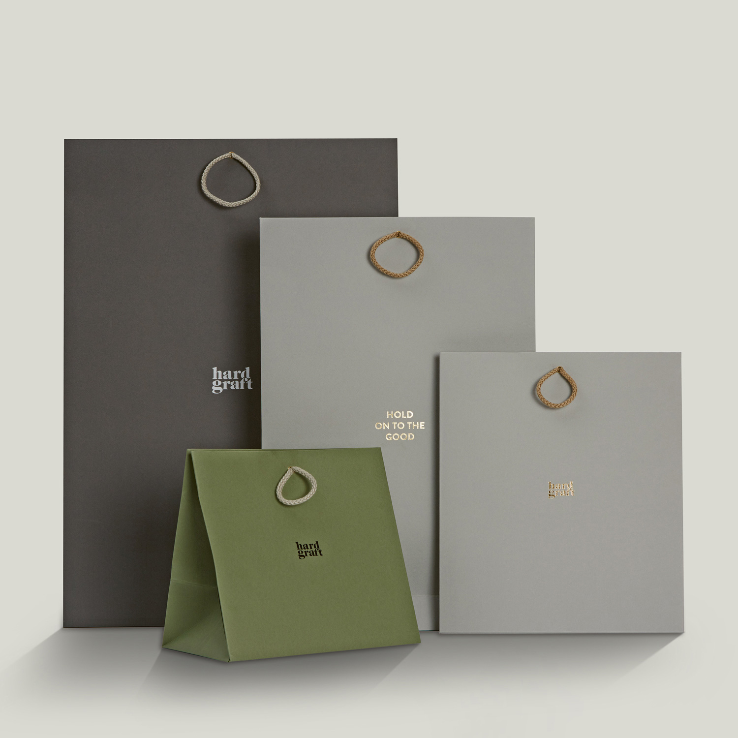 Progress Packaging HardGraft Luxury Fashion Retail Carrier Bags Cord Handles Range Colorplan Foiling