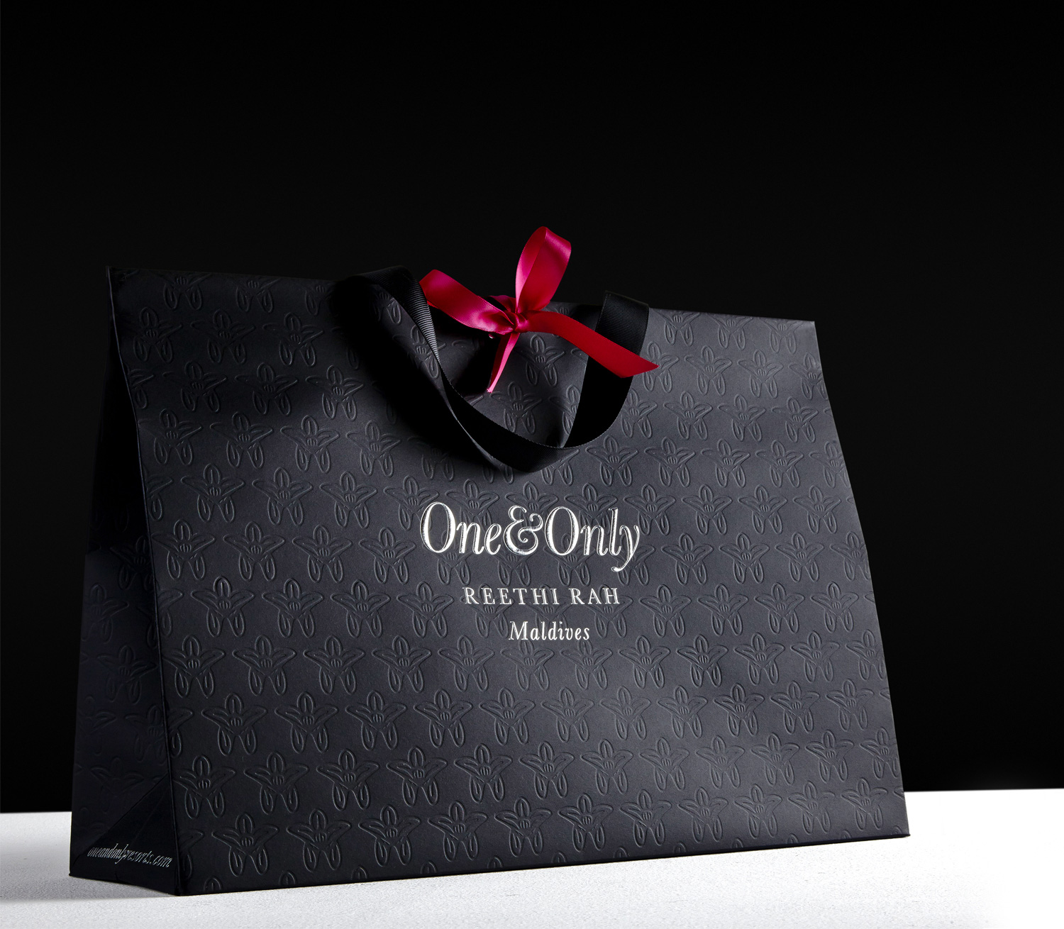 Progress Packaging OneOnly Carrier Bags Luxury Property Resorts Foiling Fluted Silver Blind Embossed