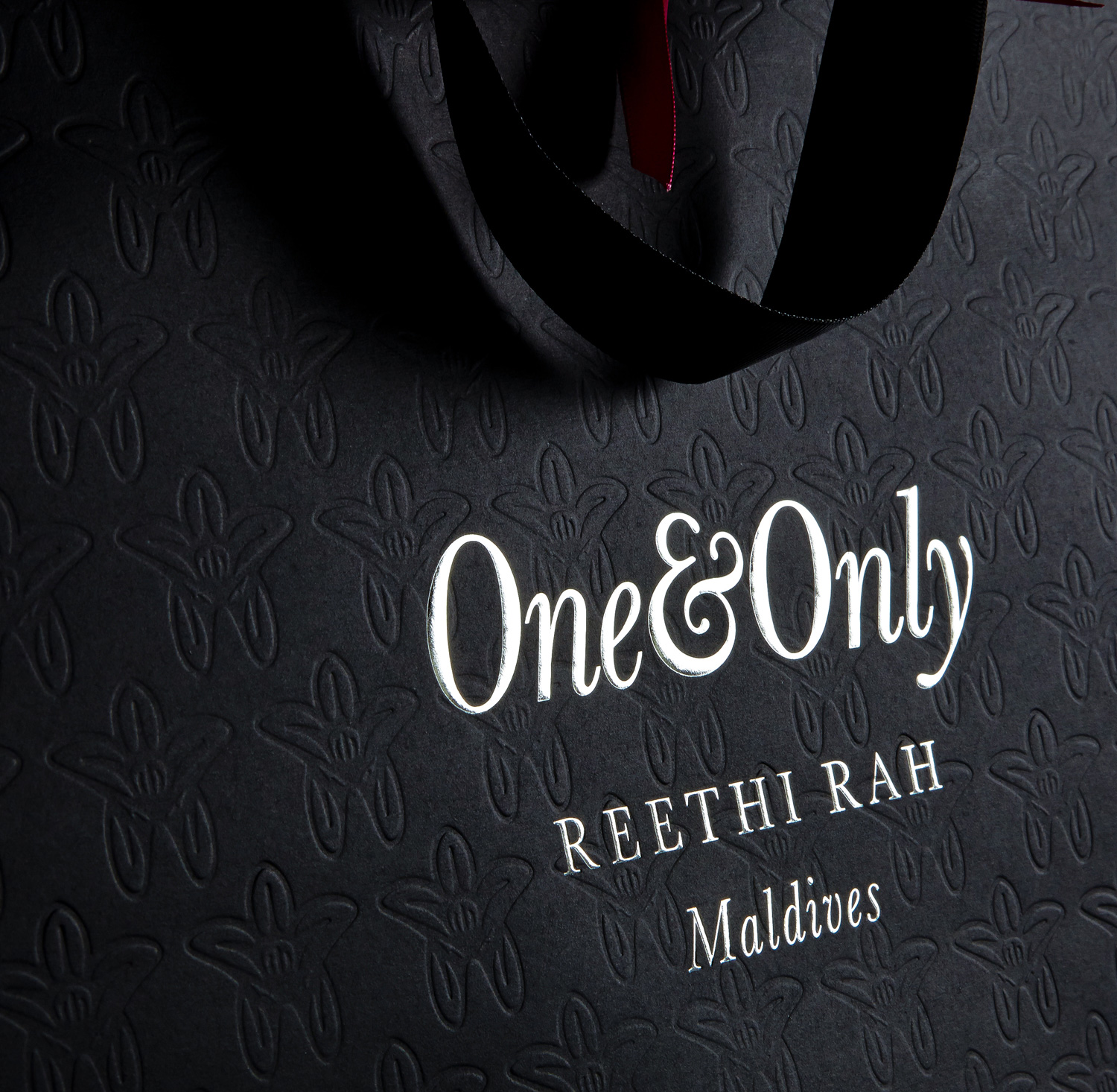 Progress Packaging OneOnly Carrier Bags Luxury Property Resorts Foiling Fluted Silver Foilco
