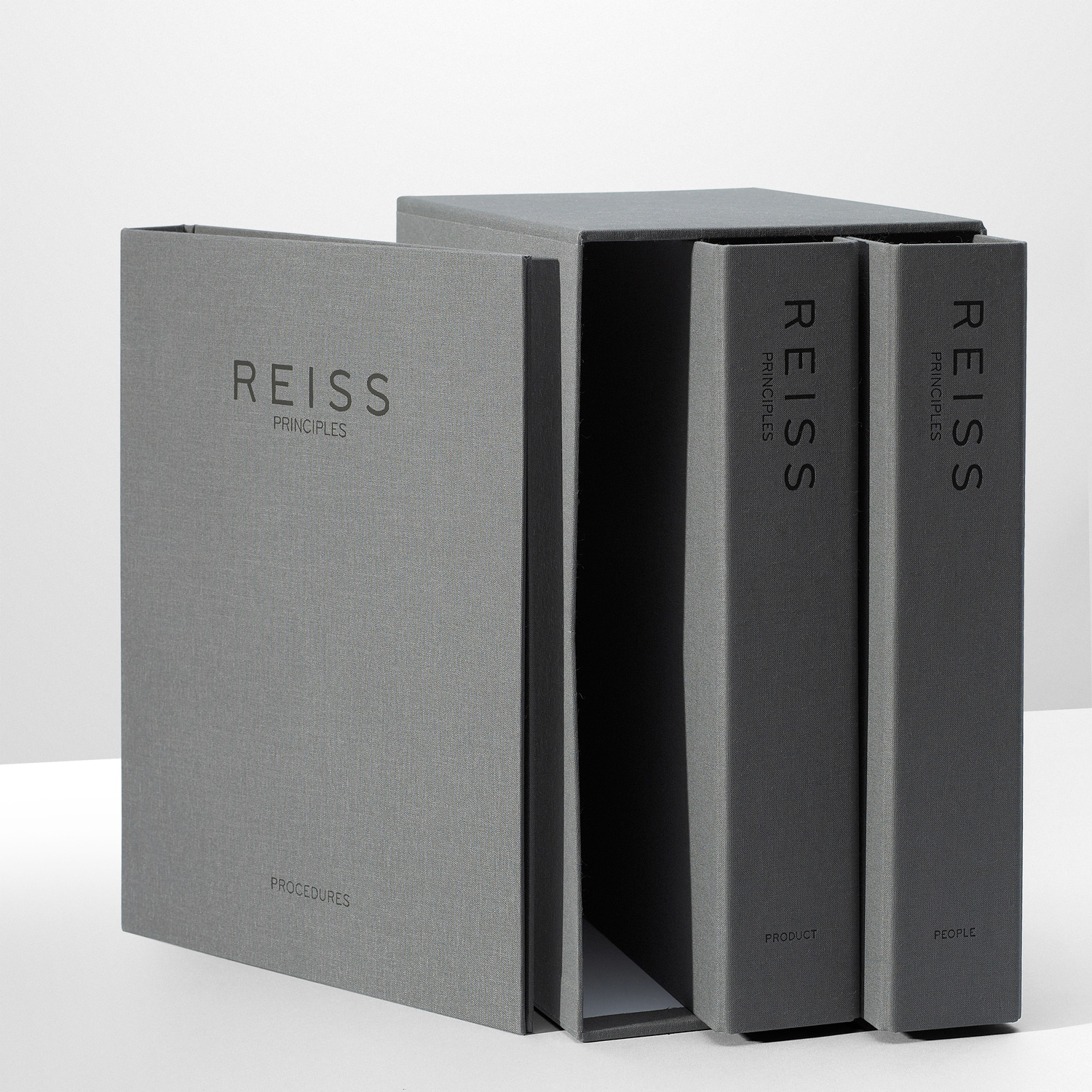 Progress Packaging Reiss Folder SlipCases Retail Fashion Box Making Textiles Boards Grey