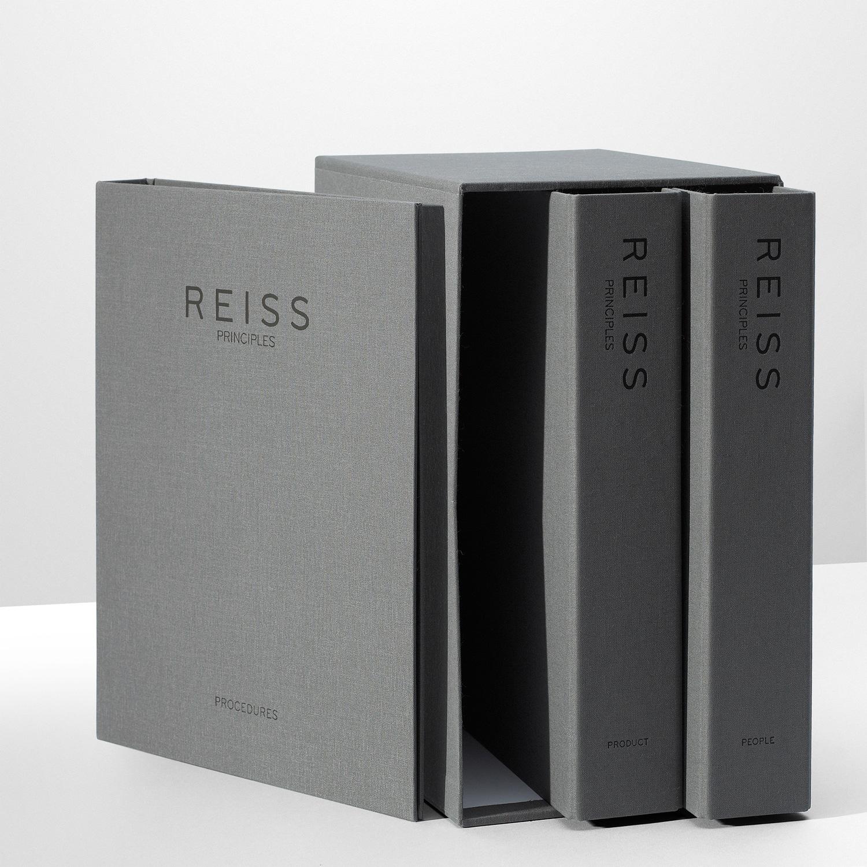 Progress Packaging Reiss Folder SlipCases Retail Fashion Box Making Textiles Boards Grey