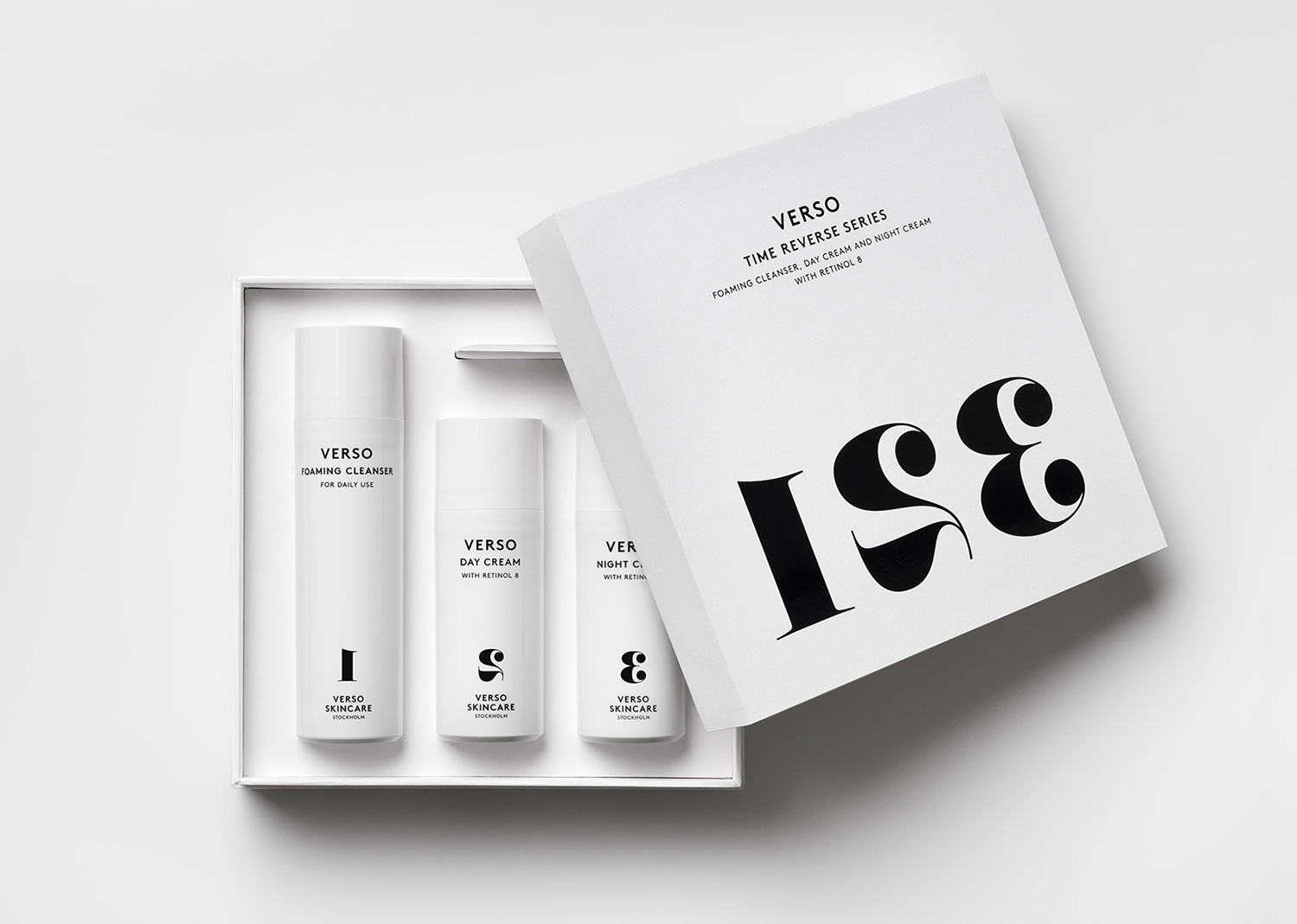 Progress Packaging VersoSkincare Cosmetics Boxes Minimal Foiling Luxury Uncoated Paper Black Foiling