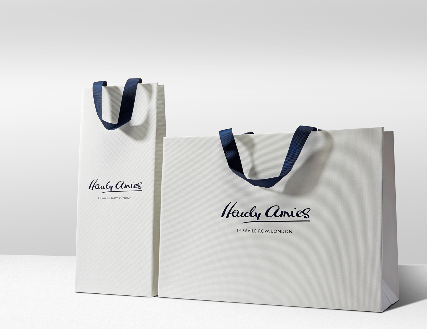 Progress Packaging Hardy Amies Luxury Fashion Carrier Bags Ribbon Silk Custom