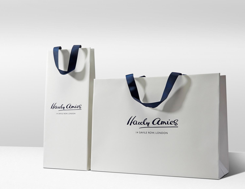 Progress Packaging Hardy Amies Luxury Fashion Carrier Bags Ribbon Silk Custom