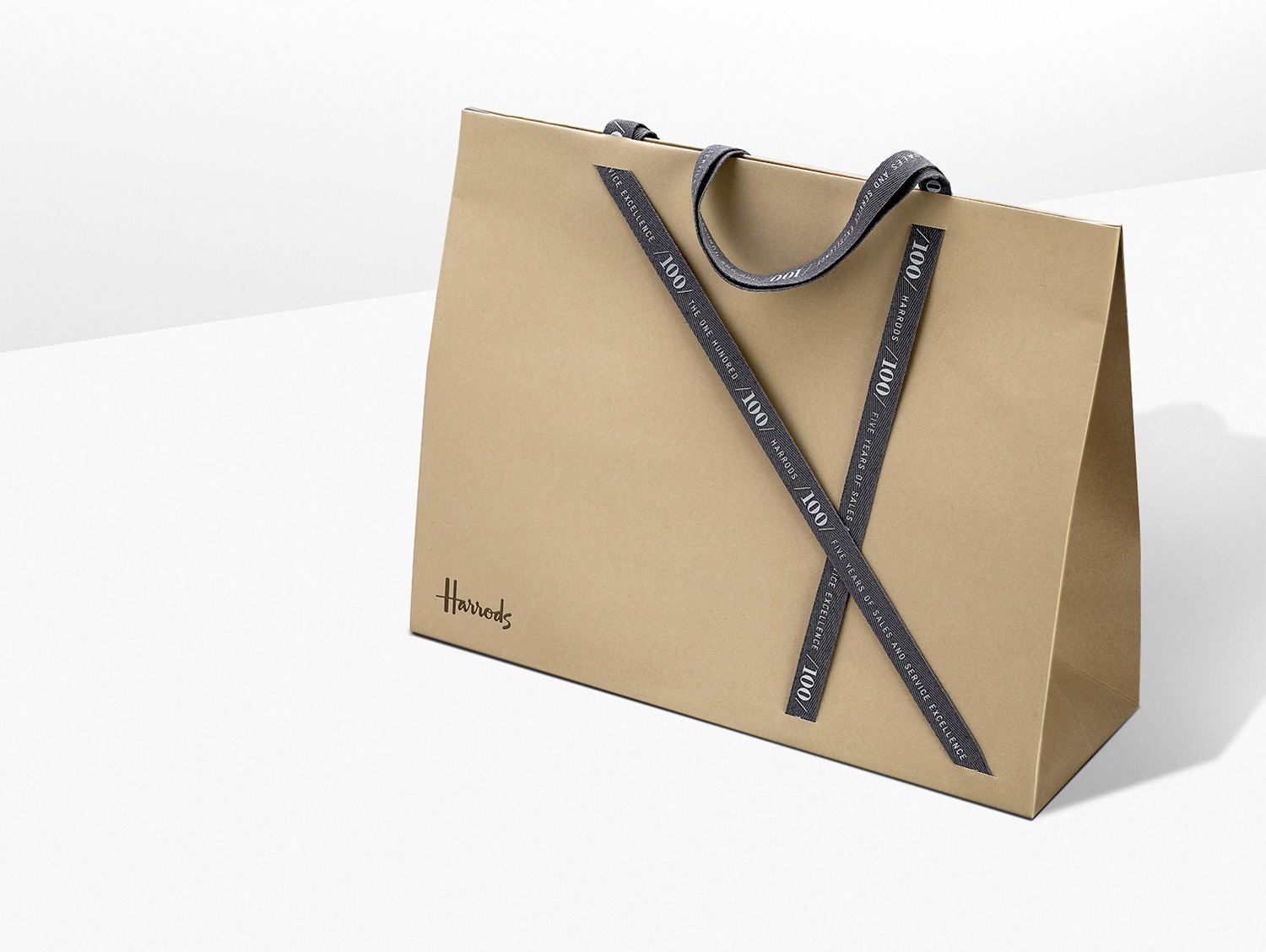 Progress Packaging Harrods Made Thought Luxury handles Printed Ribbon