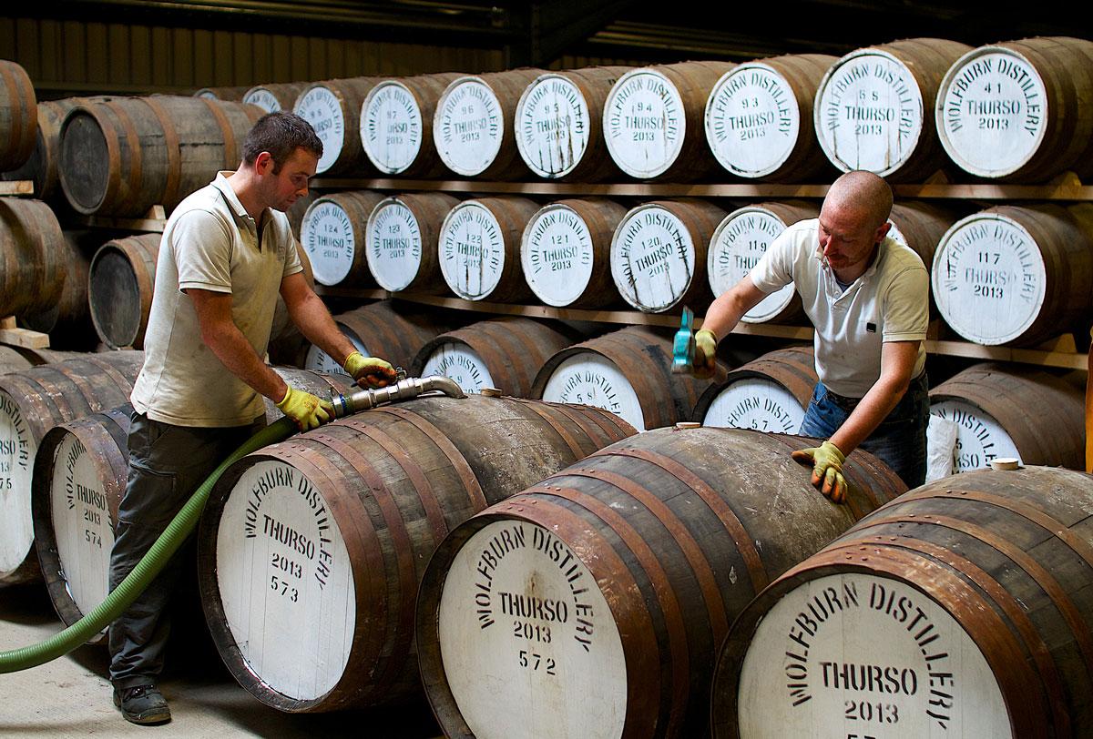 Wolfburn Distillery Progress Packaging Wooden Barrels