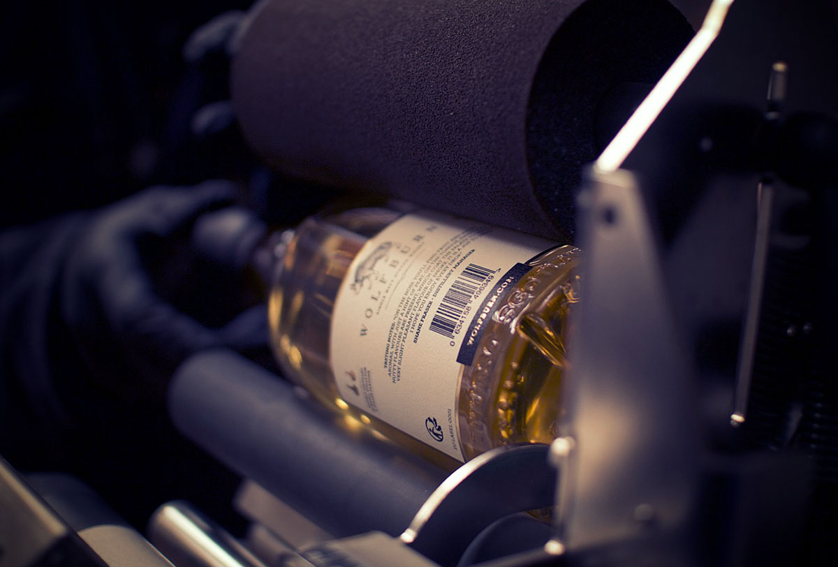 Wolfburn Whisky Progress Packaging Bottle Label Application
