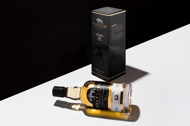 Wolfburn Whisky Progress Packaging Bottle Label Crash bottom box
