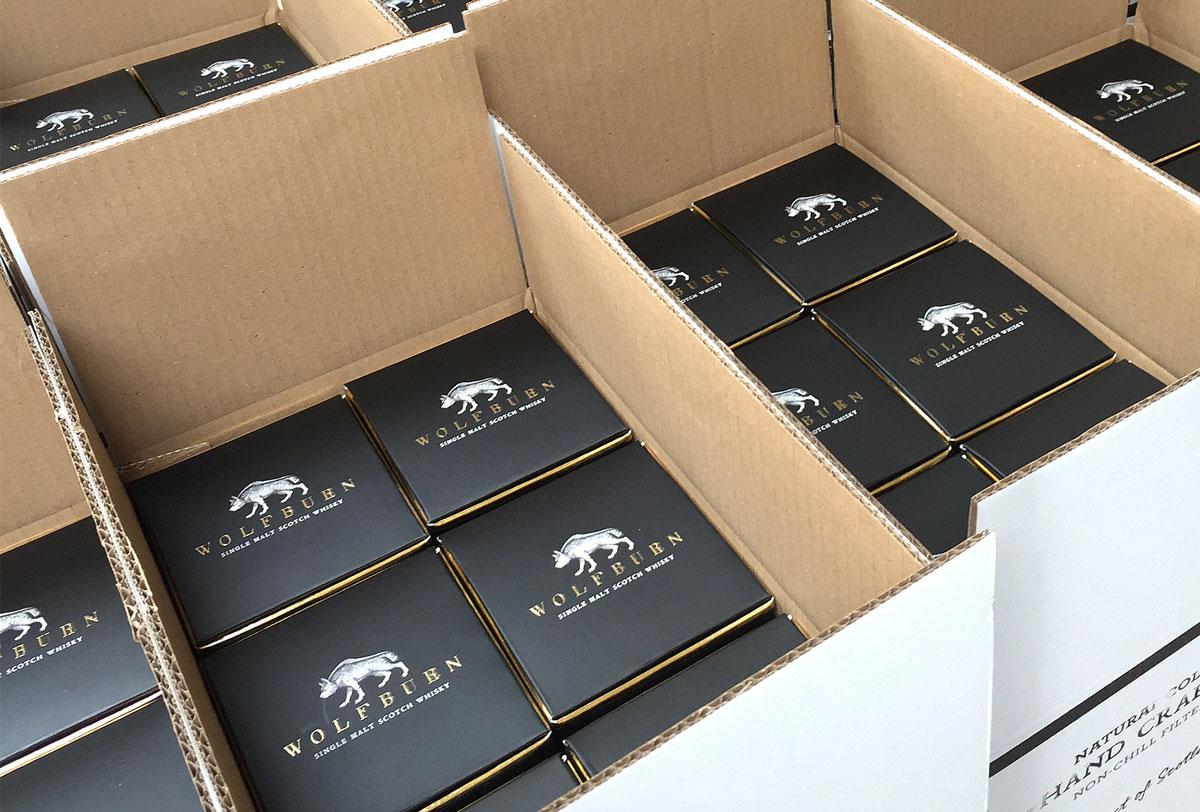 Wolfburn Whisky Progress Packaging Transit Boxes Corrugate Print