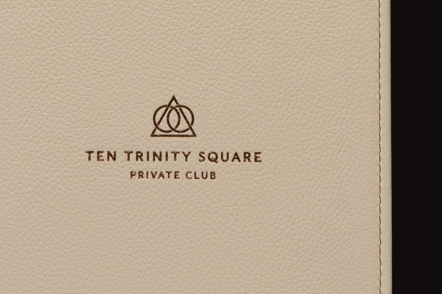 Progress Packaging Ten Trinity Square Four Seasons Luxury Leather Foil Block Menu