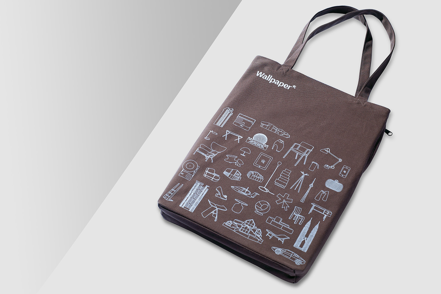 Progress Packaging Wallpaper Magazine Tote Bag Luxury Creative Bespoke Screen Print Zip Pocket Canvas