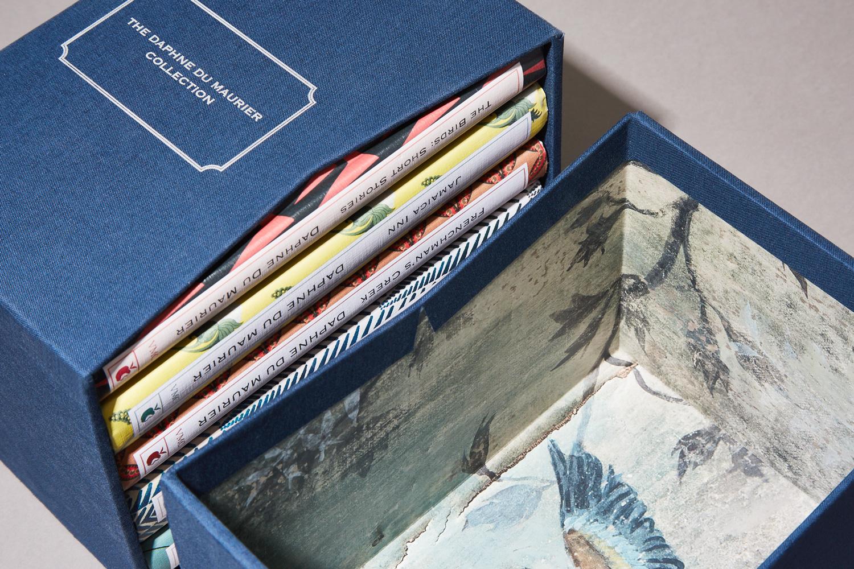 Progress Packaging Bespoke Slipcase Book Book Cloth Collector Edition Box Set Chevron Cut Paper Lined Luxury Box