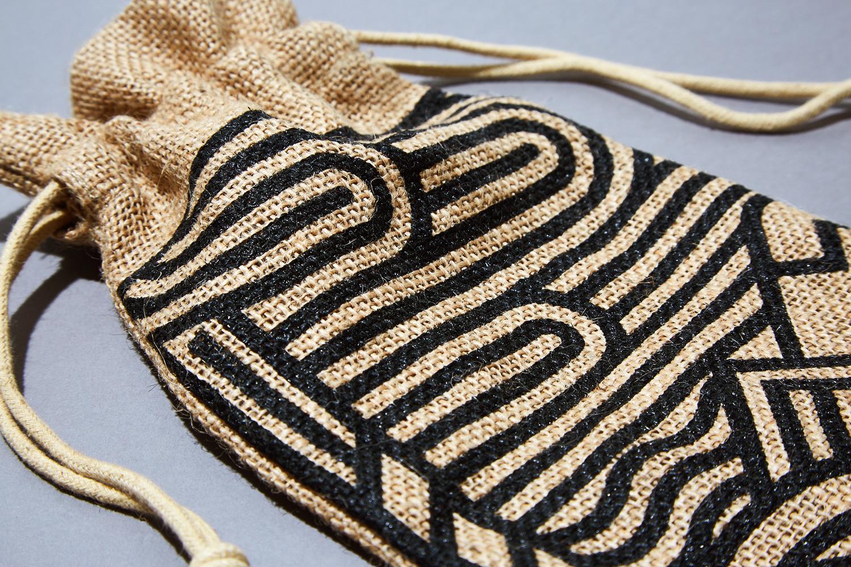 Progress Packaging Branded Hessian Drawstring Bag Printed Whisky Whiskey Spirits Alcohol Bottle Bag Hunter Laing