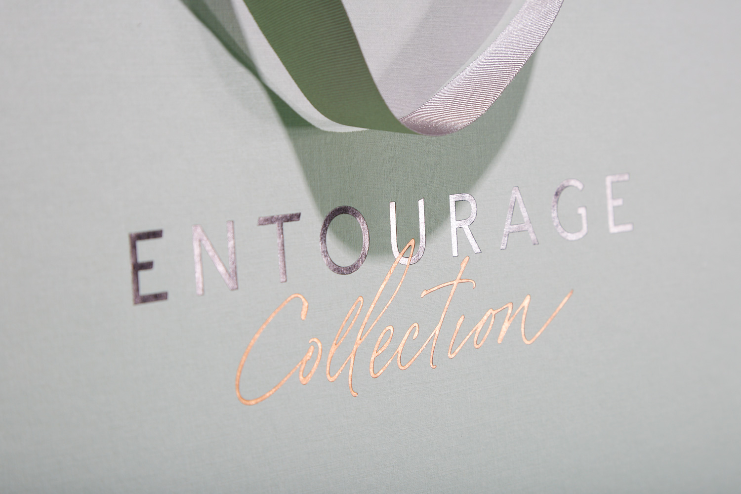 Progress Packaging Entourage Bespoke Paper Large Custom Colorplan Embossed Rose Gold Foil Carrier Bag