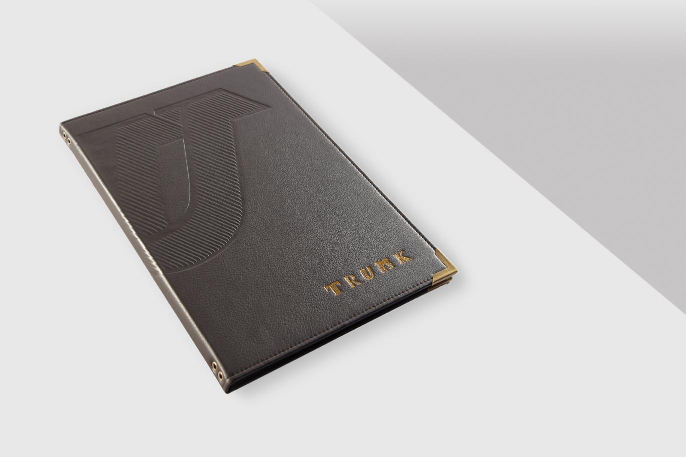 Progress Packaging Trunk Custom Bespoke Leather Luxury Menu Covers Made In The UK