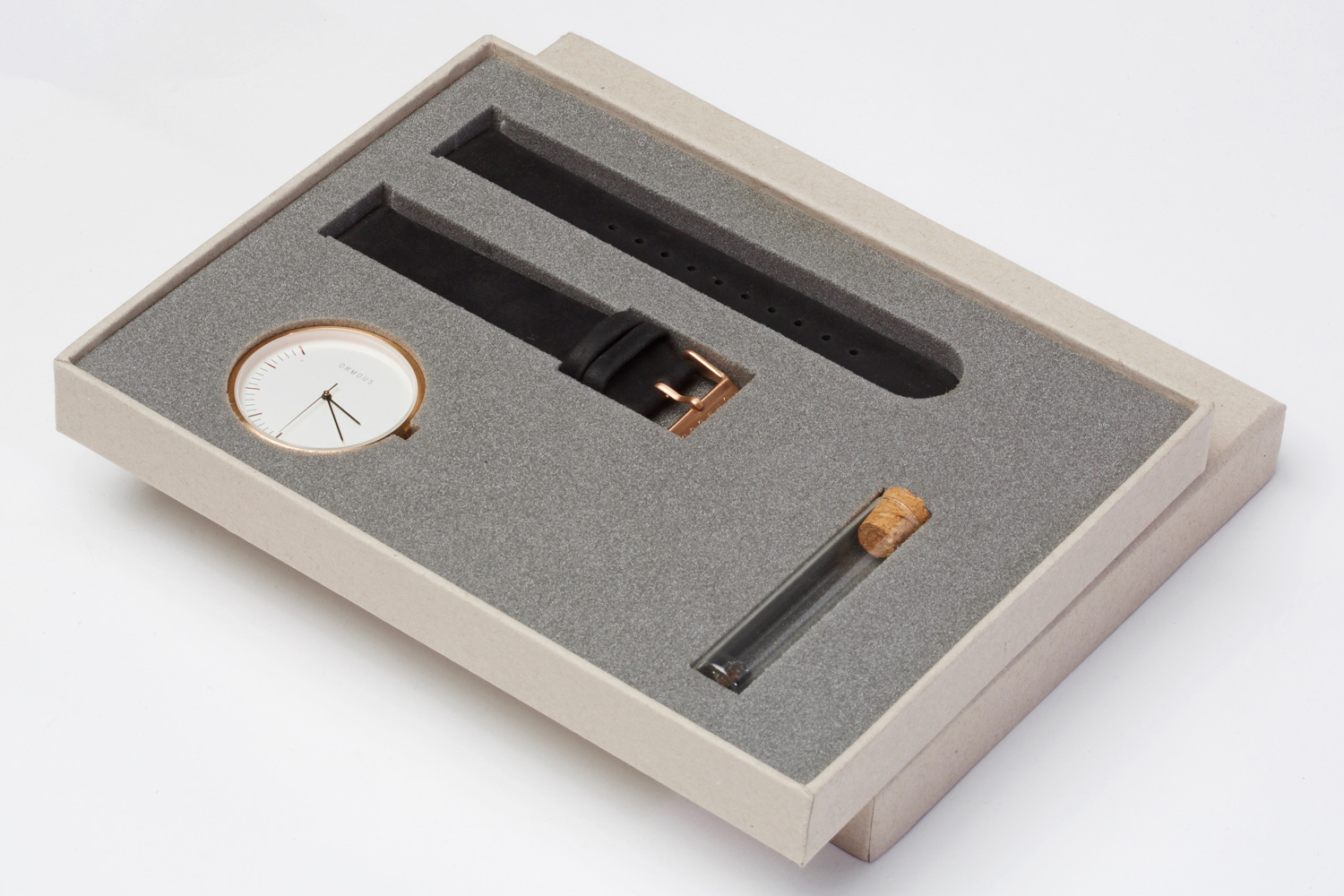 Progress Packaging Ormous Watch Box Foam Insert Recycled Minimal Kraft Eco Luxury Creative Design