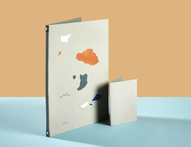 Progress Packaging Meraki Restaurant Menu Design Branding Foil Blocking Bill Holder Short Run Bespoke