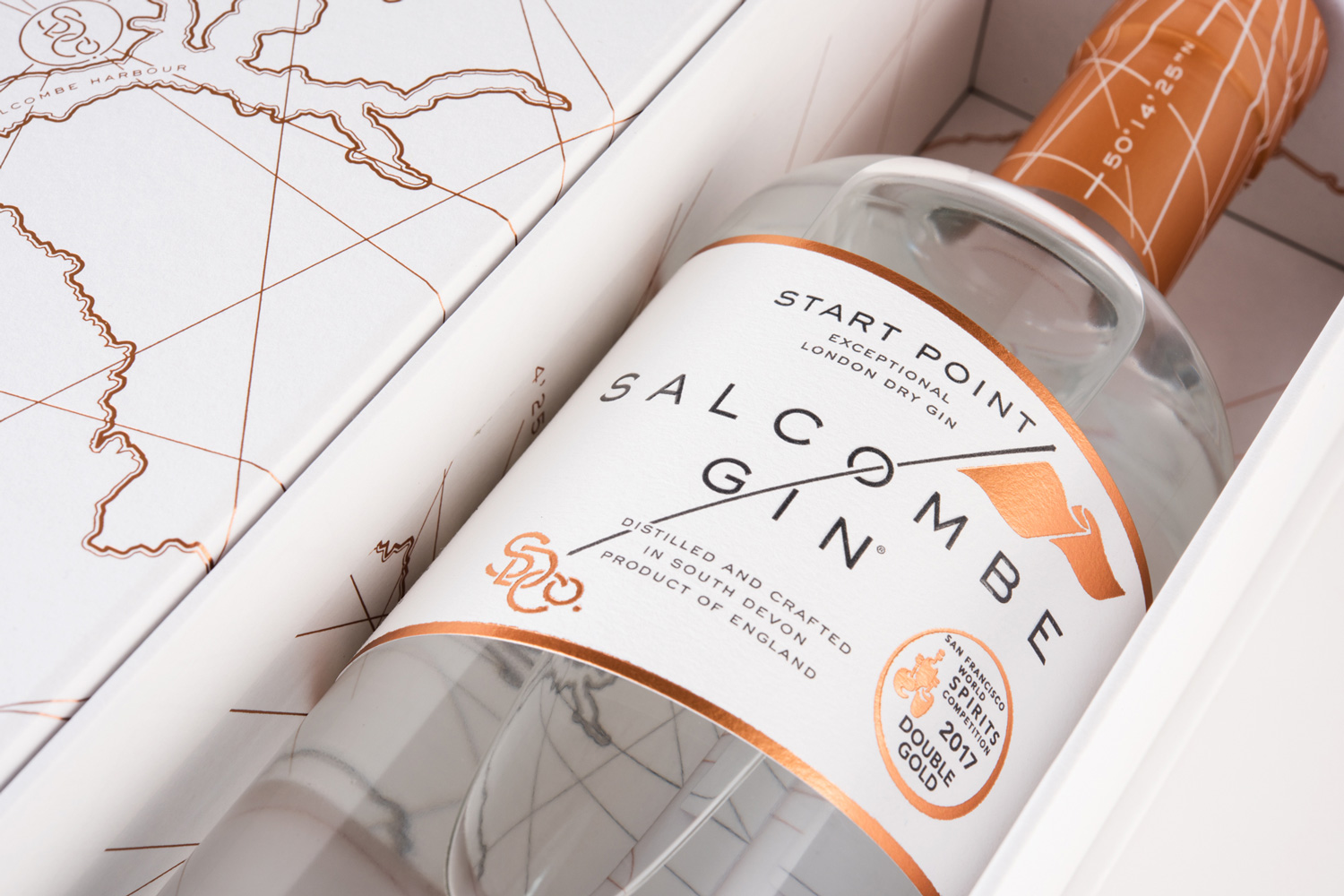Progress Packaging Salcombe Gin Spirits Bottle Retail Luxury Foil Quality Bespoke Minimal Alcohol Gift Presentation
