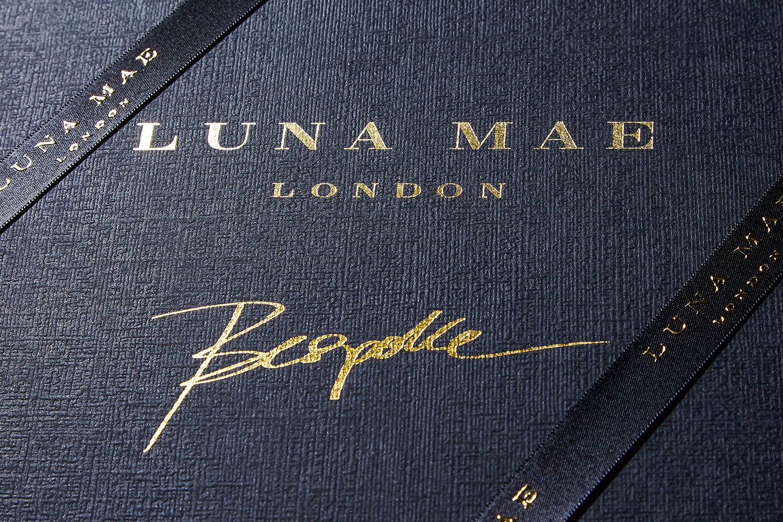 Progress Packaging Luna Mae Retail Accessories Bespoke Gift Presentation Box Tissue Ribbon Foil Block Paper Over Board
