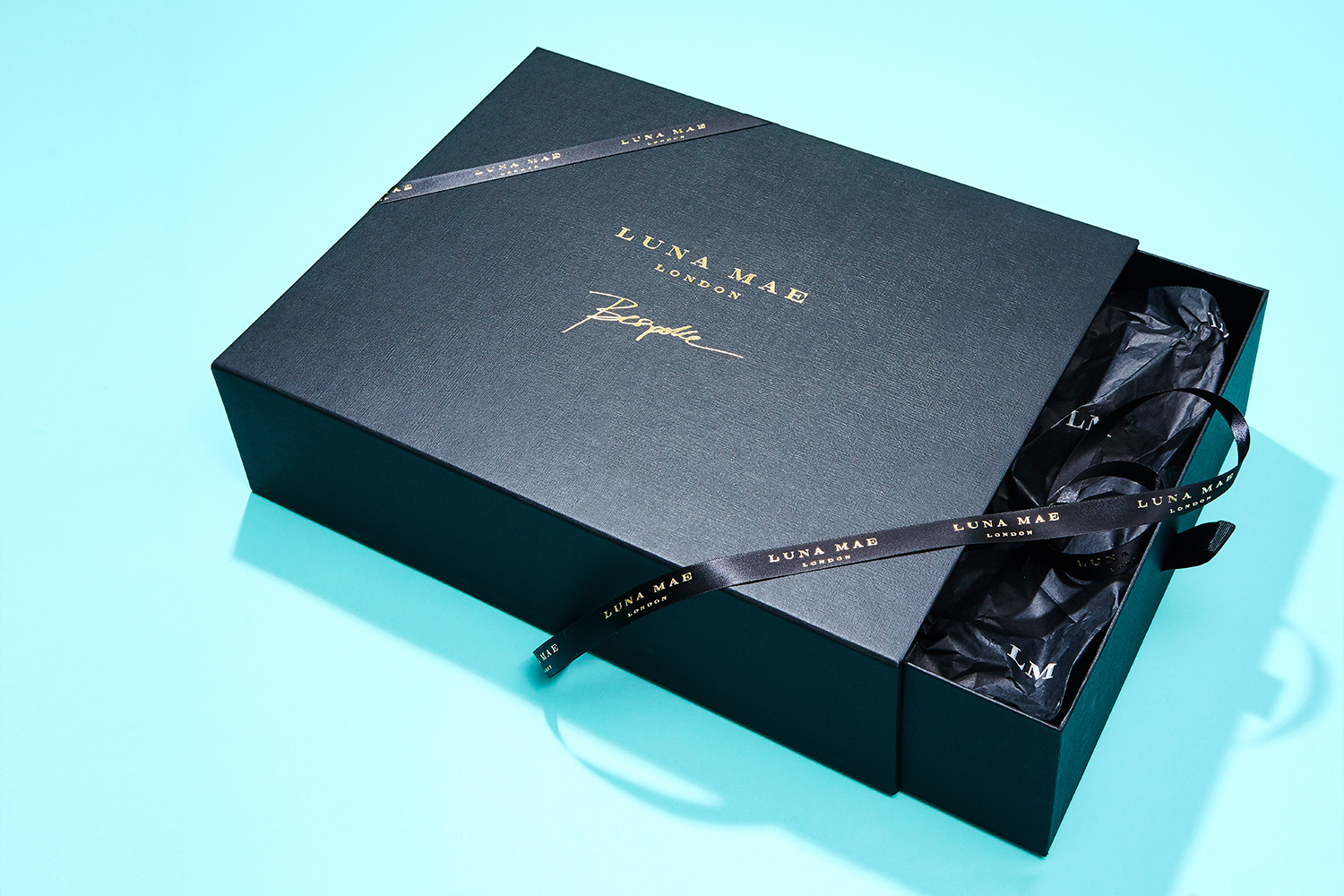 Progress Packaging Luna Mae retail Accessories Bespoke Gift Presentation Box Production Manufacture Tissue Ribbon Gold Foil Block