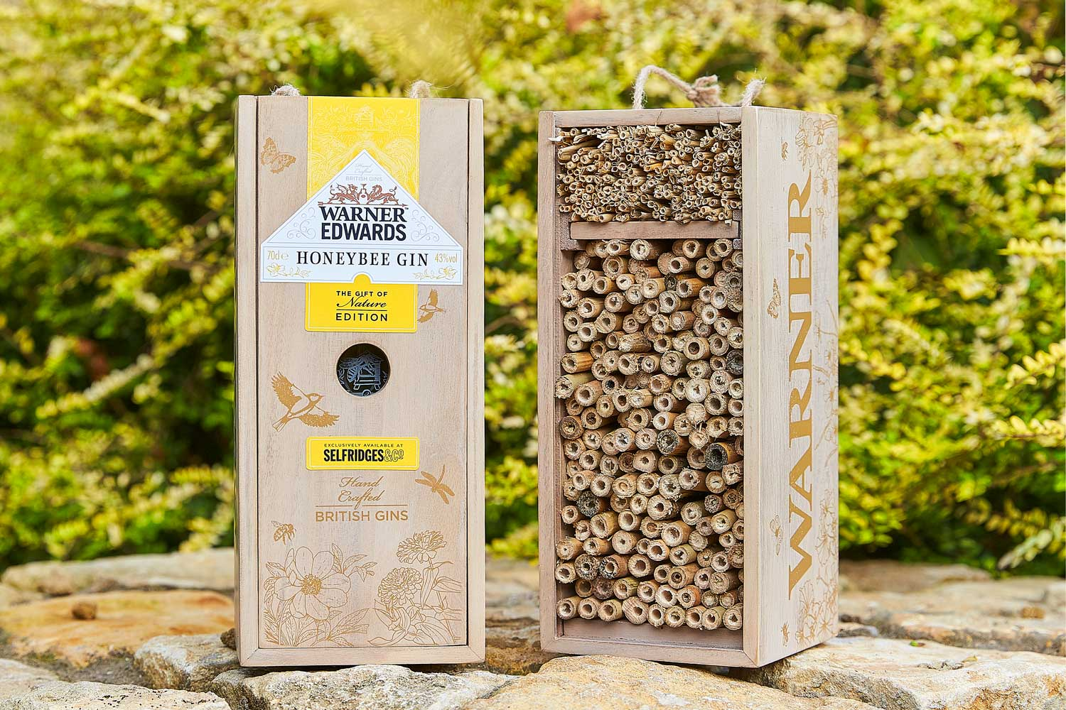 Progress Packaging Wooden Bird Box Insect Hotel Drinks Gin Spirits Liquor Fsc Approved Recycled Biodegradable Reusable Upcycling Responsibly Sourced Eco Friendly Environmentally Friendly 7