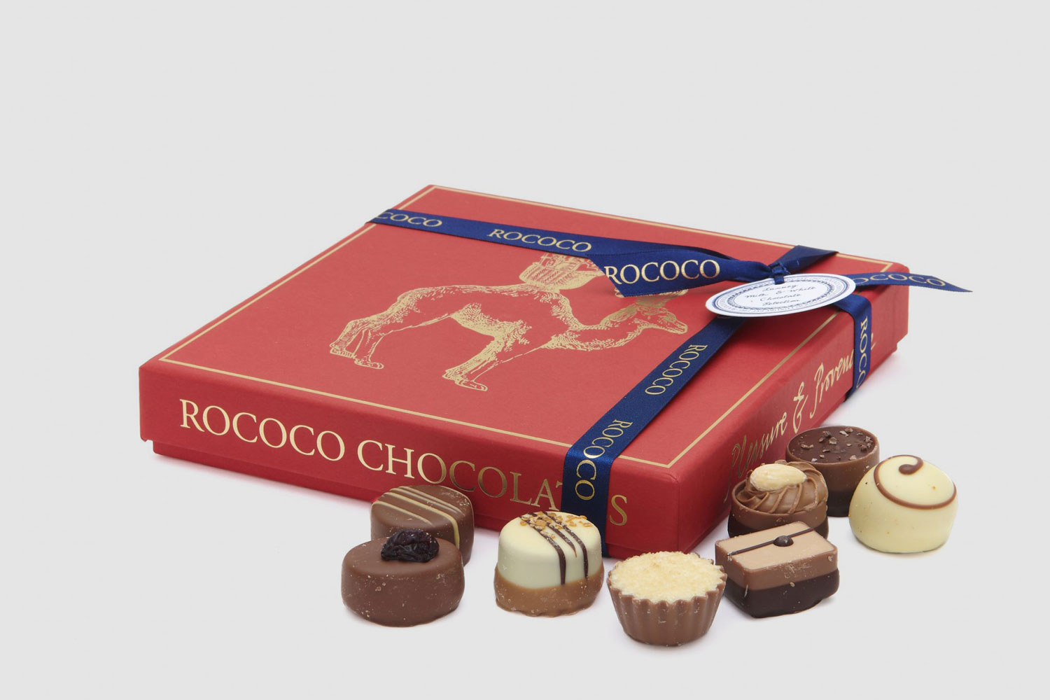 Progress Packaging Rococo Chocolates Bespoke Luxury Pantone Match Confectionery Food Sweet Gold Foil Box Lid Recyclable Eco Friendly Manufacture Production Print 03