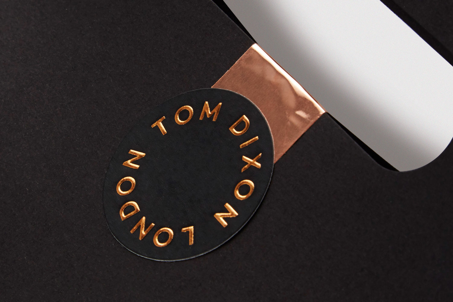 Progress Packaging Tom Dixon Environmentally Friendly Luxury Bespoke Retail Colour Plan Carrier Bag Bronze Foil Sticker