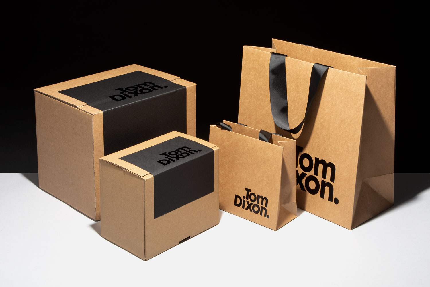 Progress Packaging Tom Dixon Environmentally Friendly Luxury Bespoke Retail Pcw Recyclable Kraft Bag Corrugate Box Black Foil Collection 01