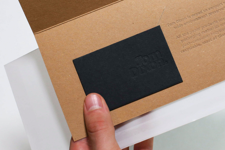 Progress Packaging Tom Dixon Environmentally Friendly Luxury Bespoke Retail Pcw Recyclable Kraft Envelope Accessories Mailer Blind Emboss 01