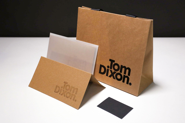 Progress Packaging Tom Dixon Environmentally Friendly Luxury Bespoke Retail Pcw Recyclable Kraft Envelope Accessories Mailer Blind Emboss Retail Pack