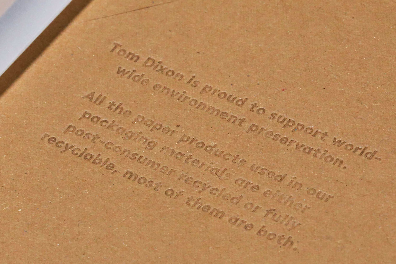 Progress Packaging Tom Dixon Environmentally Friendly Luxury Bespoke Retail Pcw Recyclable Kraft Envelope Accessories Mailer Blind Emboss Statement