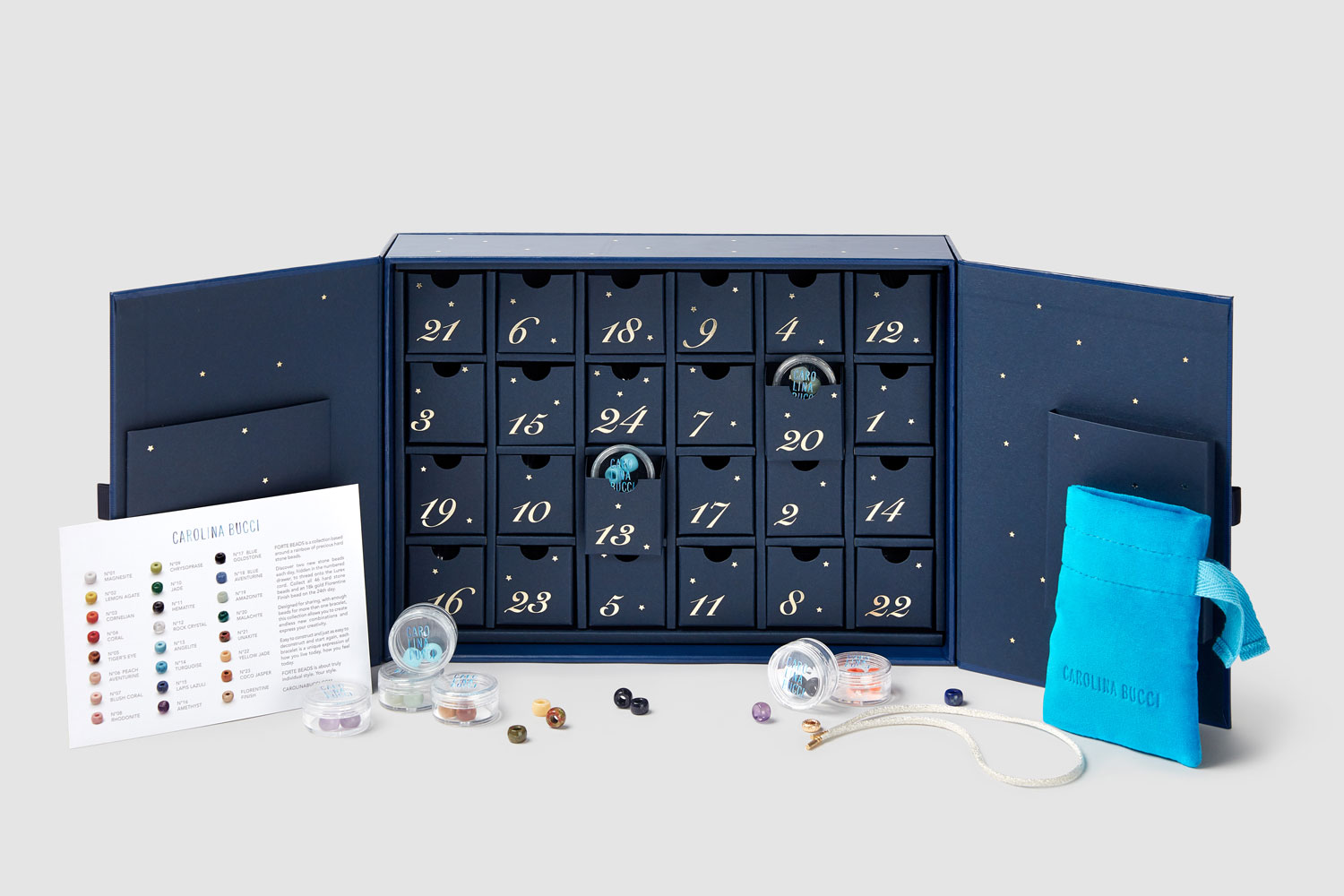 Progress Packaging Carolina Bucci Advent Calendar Bespoke Luxury Seasonal Packaging Drawer Boxes Advent Calendar Jewellery retail Special Limited Edition 01